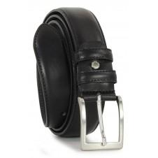 Classic plain leather calf belt Black
