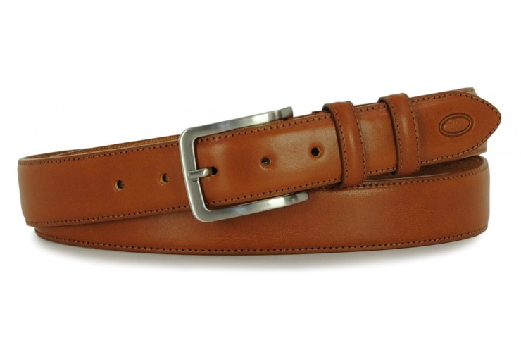 Classic plain leather calf belt Cognac XL extra large