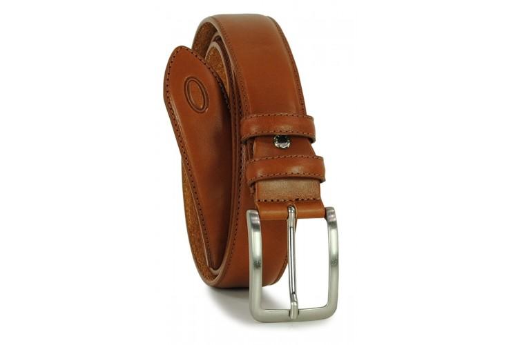 Cintura classica in pelle liscia Cognac XL extra lunga