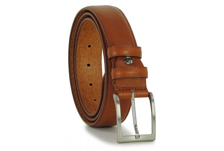 Classic plain leather calf belt Cognac