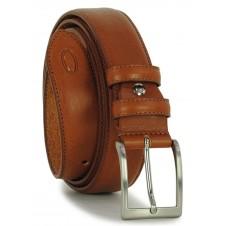 Cintura classica in pelle liscia Cognac