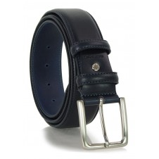 Classic plain leather belt 4cm Blue