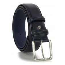 Cintura classica in pelle liscia 4cm Blu