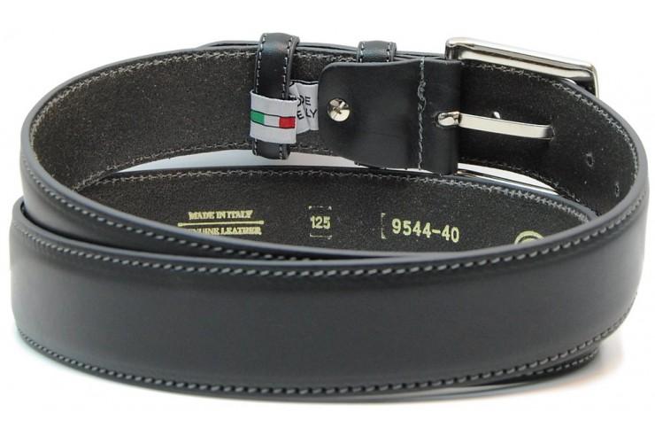 Classic plain leather belt 4cm Dark Grey
