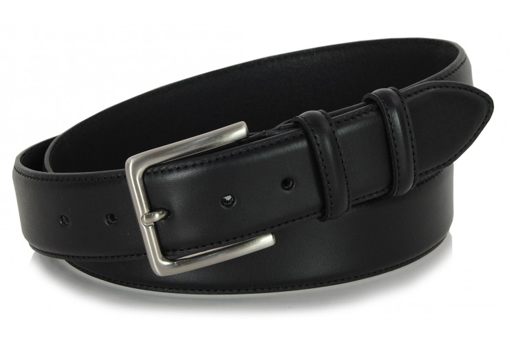 Classic plain leather belt 4cm Black