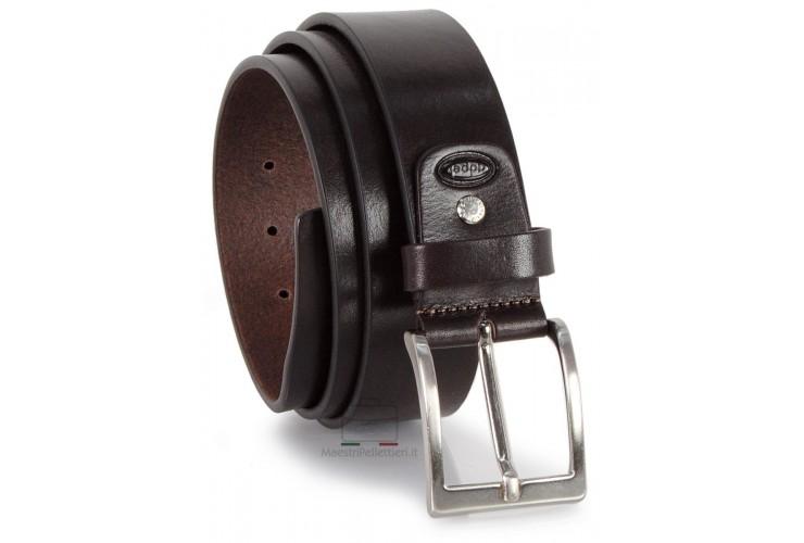 Cintura in Cuoio per Jeans alta 4cm Marrone Extra Lunga
