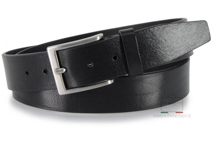 Cintura in Cuoio per Jeans alta 4cm Nero Extra Lunga