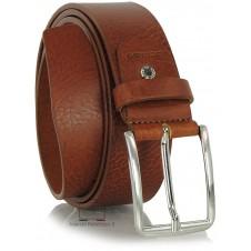 Jeans plain leather Belt unisex 4cm Cognac