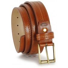 Cintura in pelle Vacchetta, tripla cucitura Cognac Fibbia Ottone F5