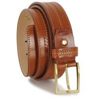 Cintura classica in pelle Vacchetta, Cognac fibbia Ottone F2