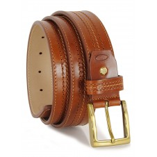 Cintura classica in pelle Vacchetta, Cognac fibbia Ottone F3