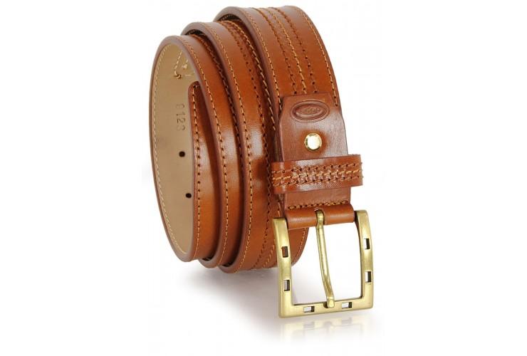 Cintura classica in pelle Vacchetta, Cognac fibbia Ottone F7