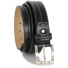 Cintura in pelle Vacchetta, tripla cucitura Nero fibbia F7