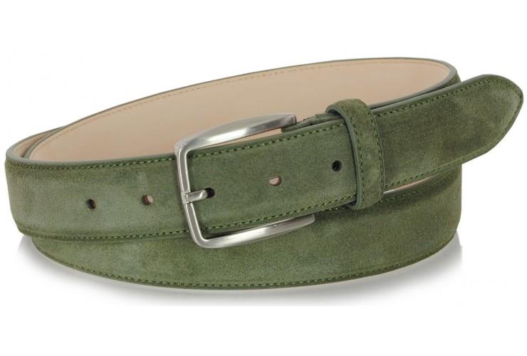 Ledergürtel aus Veloursleder farbe Grün