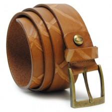 Cintura da Jeans in pelle con effetto vintage graffiato Cuoio