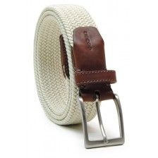 Braided stretch belt elastic, White Beige