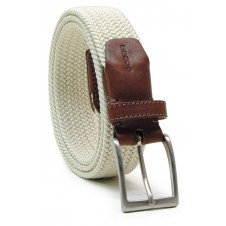 Braided stretch belt elastic, White Beige