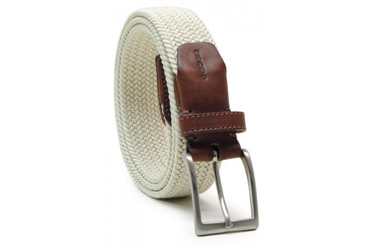 Cintura intrecciata elastica, regolabile, Beige Bianco