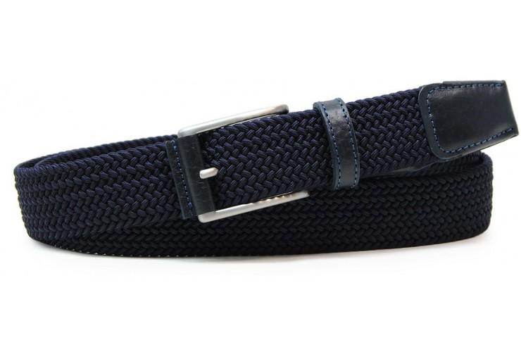Cintura intrecciata elastica con riporti in pelle, regolabile, Blu