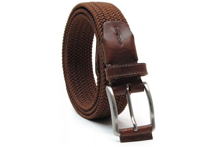 Braided stretch belt elastic with leather appliqués, Brown