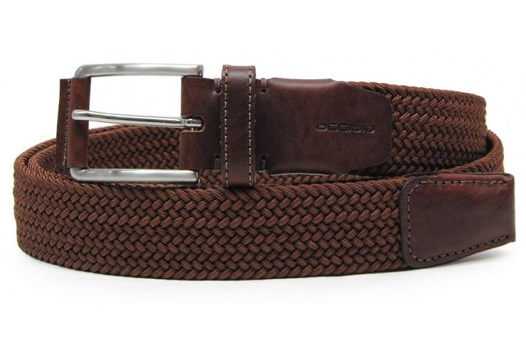 Cintura intrecciata elastica con riporti in pelle, regolabile, Marrone