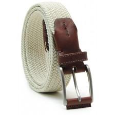 Braided stretch belt elastic with leather appliqués, White Beige