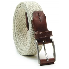 Braided stretch belt elastic with leather appliqués, White Beige