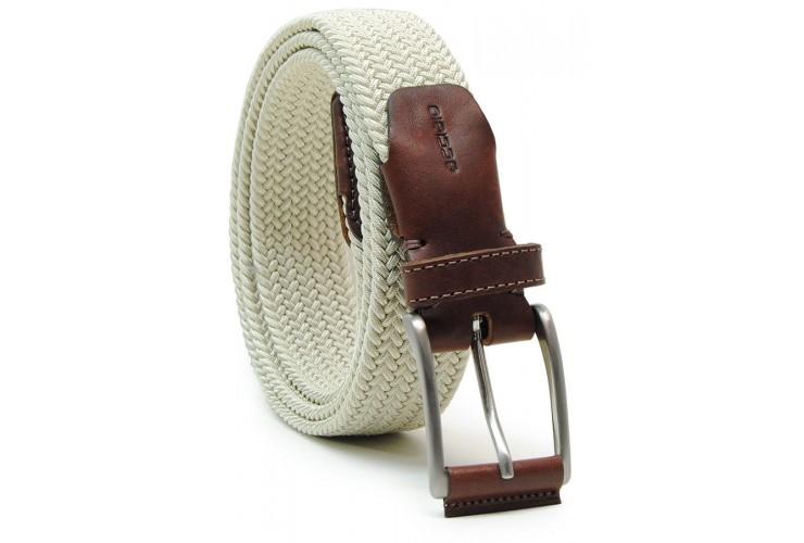 Cintura intrecciata elastica con riporti in pelle, regol. Beige/Bianco