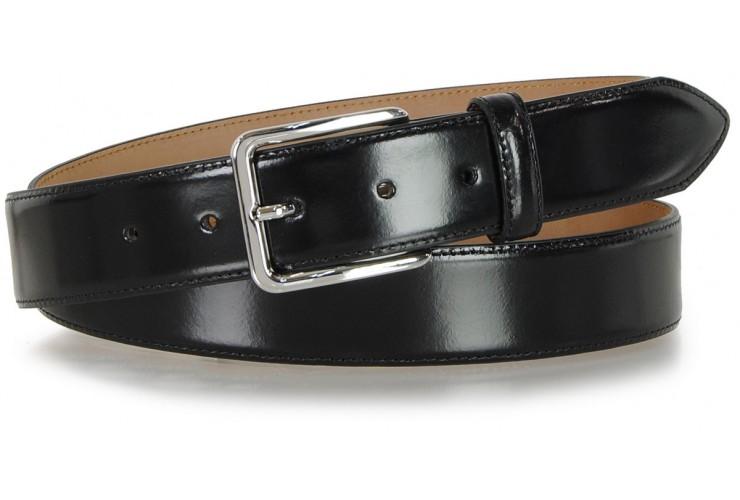 Cintura elegante da uomo in pelle spazzolata, Nero