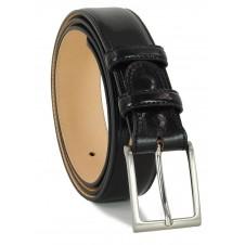 Cintura uomo classica in cuoio toscano Nero + 1 fibbia extra