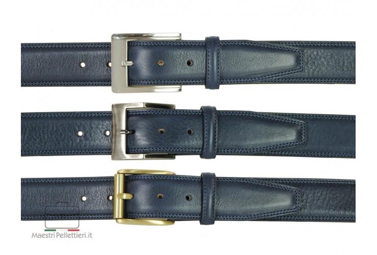 Cintura uomo in pelle Blu 4cm + 2 fibbie extra