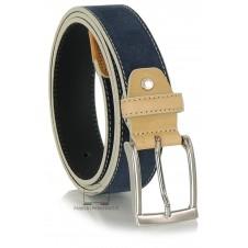 Cintura in camoscio Blu estiva con riporti Cuoio