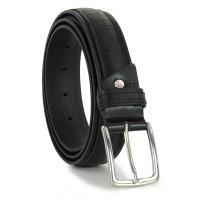 Cintura in cuoio con inserti in vitello treccia Nero