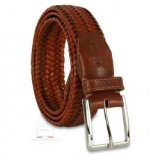 Braided stretch leather belt elastic Orange/Tan 3.5cm