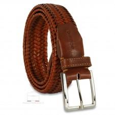 Cintura Intrecciata Elastica in pelle Cuoio/Arancio 3.5cm