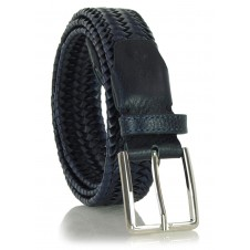Braided stretch leather belt elastic Blue 3.5cm