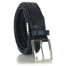 Cintura Intrecciata Elastica in pelle Blu 3.5cm