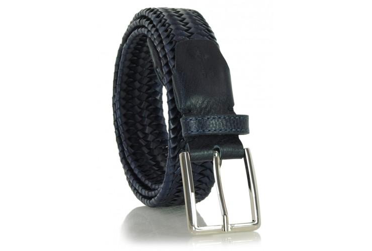 Braided stretch leather belt elastic Blue 3.5cm