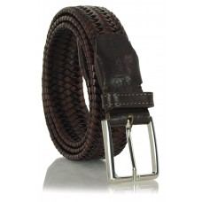 Cintura Intrecciata Elastica in pelle Marrone 3.5cm