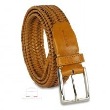 Braided stretch leather belt elastic Honey/Tan 3.5cm