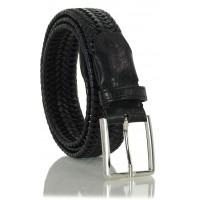 Cintura Intrecciata Elastica in pelle Nero 3.5cm