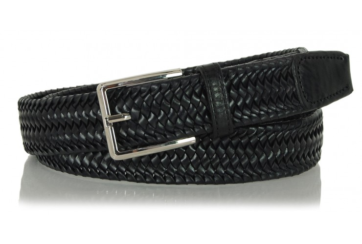 Braided stretch leather belt elastic Black 3.5cm