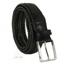 Braided stretch leather belt elastic Green 3.5cm