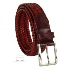 Braided stretch leather belt elastic Burgundy 3.5cm