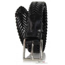 Cintura Intrecciata elegante in pelle cuoio Nero