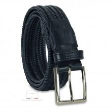Cintura Intrecciata Elastica in Cuoio, regolabile, Blu scuro