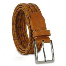 Braided stretch leather belt elastic