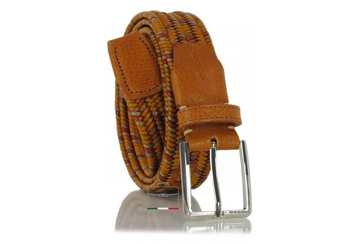 Cintura Intrecciata Elastica in Cuoio, regolabile, Marrone/Cognac