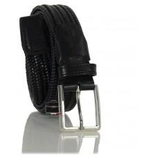 Cintura Intrecciata Elastica in Cuoio, regolabile, Nero