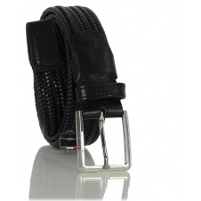 Braided stretch leather belt elastic, adjustable, Black
